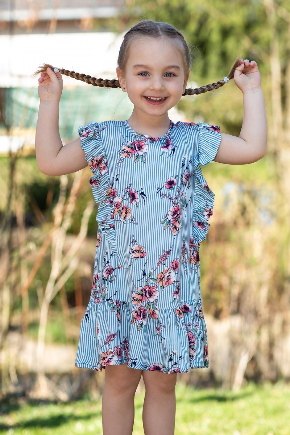 Viskosekleid Streifen piapaul. Mädchenkleid ärmellos   blau/weiß