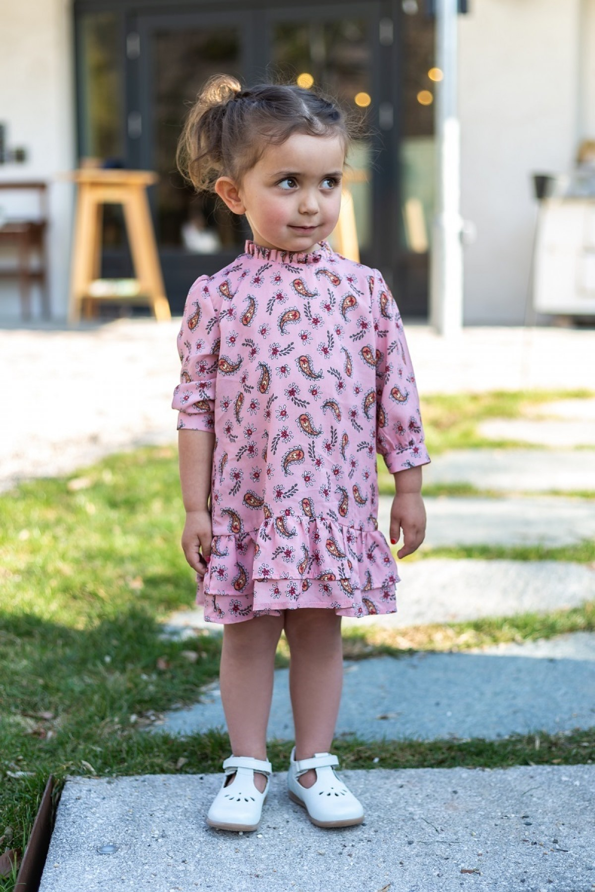 Mädchenkleid  piapaul. 811802 Viskosekleid mit Paisleymuster   Rosé